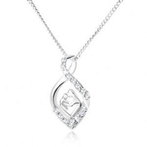 Stříbrný 925 náhrdelník - řetízek a zakroucená zirkonová slza, matka a dítě V14.26