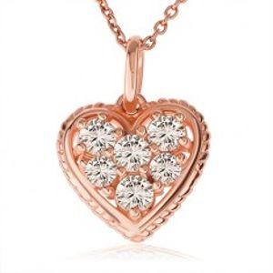 Stříbrný 925 náhrdelník, čiré zirkonové srdce s vroubkovaným lemem, měděná barva SP39.25