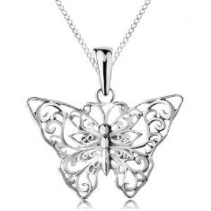 Stříbrný 925 náhrdelník, motýlek s vyřezávanými ornamenty, řetízek AC21.10
