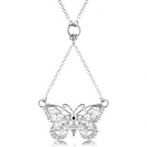 Stříbrný 925 náhrdelník, řetízek a přívěsek - vyřezávaný motýlek AC17.19