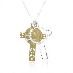 Stříbrný 925 náhrdelník, vyřezávaný kříž s Ježíšem zlaté a stříbrné barvy SP85.27