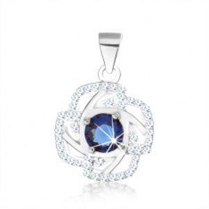 Stříbrný 925 přívěsek, obrys květu, kulatý zirkon modré barvy, stříbrné linie SP66.01