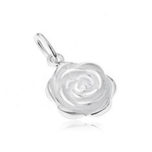 Stříbrný 925 přívěsek, rozkvetlý květ růže SP14.22