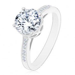 Stříbrný 925 prsten - zásnubní, velký kulatý zirkon čiré barvy v ozdobném kotlíku J18.03