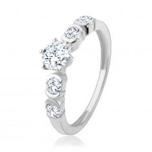 Stříbrný 925 prsten, kulaté zirkony čiré barvy s lesklými obloučky HH18.7