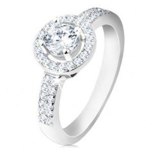 Stříbrný 925 prsten, široká ramena, blýskavá linie, kulatá objímka, broušený zirkon S61.27