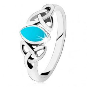 Stříbrný 925 prsten, tyrkysové zrnko, keltský symbol Triquetra HH5.15