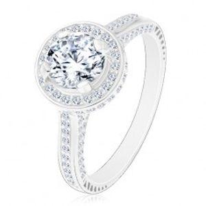 Stříbrný 925 prsten, zářivý kulatý zirkon čiré barvy ve třpytivém kruhu M02.31
