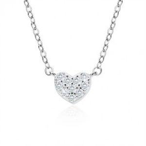 Stříbrný náhrdelník 925 - zirkonové srdíčko, jemný řetízek, perový kroužek A13.11