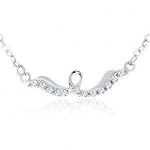 Stříbrný náhrdelník 925, lesklá stuha se smyčkou, čiré zirkony SP61.03