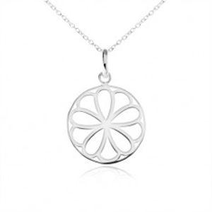 Stříbrný náhrdelník 925, kruhový přívěsek - ozdobně vyřezávaný květ SP04.01