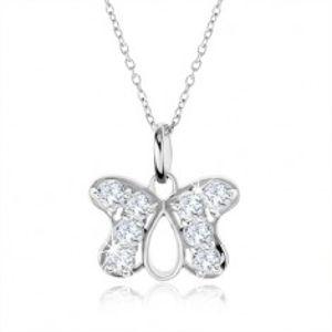 Stříbrný náhrdelník 925, přívěsek obrys motýla vykládaný zirkony SP36.18