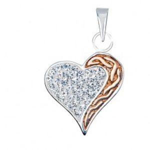 Stříbrný přívěsek 925 - zirkonové srdce se zlatým pásem Q3.7
