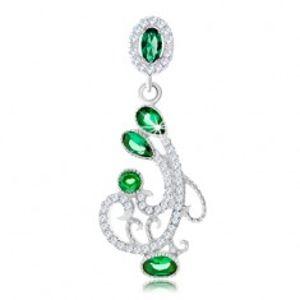 Stříbrný přívěsek 925, ornament zdobený čirými a zelenými zirkony SP88.22