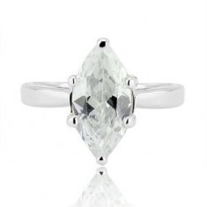 Stříbrný prsten 925 - velký broušený zirkon ve tvaru zrnka H15.18