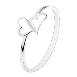 Stříbrný prsten 925 - dvě asymetrické kontury srdcí, tenká ramena J13.02