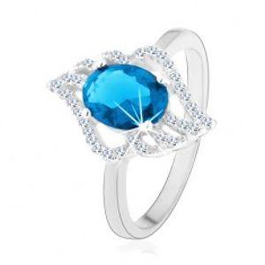 Stříbrný prsten 925, kontura čirého lístku s oválným světle modrým zirkonem K06.06