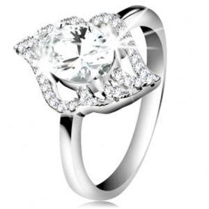 Stříbrný prsten 925, kontura čirého lístku s velkým oválným zirkonem K01.15