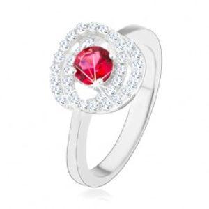 Stříbrný prsten 925, lesklá ramena, dvojitý lem, tmavě růžový zirkon HH13.7