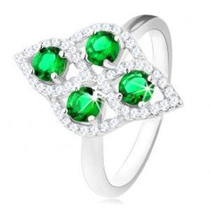 Stříbrný prsten 925, oblý kosočtverec, čtyři kulaté zelené zirkony, čirý lem HH15.15