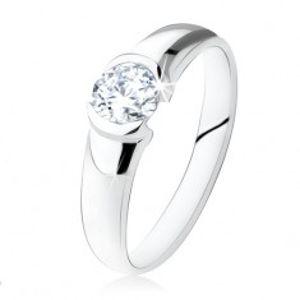 Stříbrný prsten 925, kulatý čirý kamínek, lesklý povrch SP24.13