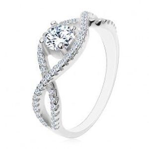 Stříbrný prsten 925, propletené zirkonové linie, kulatý broušený zirkon H8.17