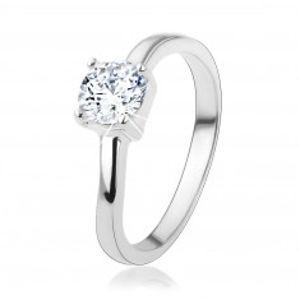 Stříbrný prsten 925 s kulatým čirým zirkonem, jemně zvlněná ramena HH18.4