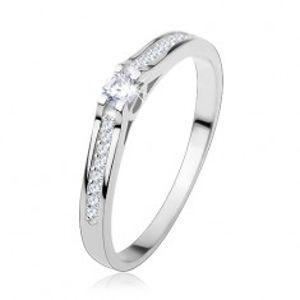Stříbrný prsten 925, úzká lesklá ramena, průhledné zirkony S60.18