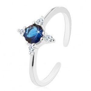 Stříbrný prsten 925, úzká rozdělená ramena, tmavomodrý zirkon, čiré zirkonky J06.01