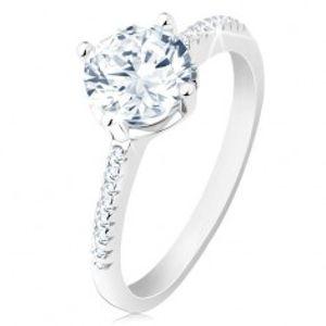 Stříbrný prsten 925, zdobená ramena, blýskavý zirkon, vyřezávaný kotlík S61.22