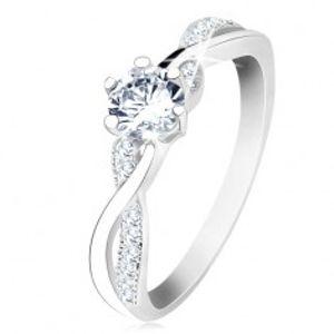 Stříbrný prsten 925, zvlněná propletená ramena, čirý zirkon S61.04