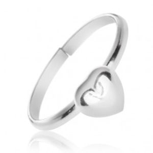 Stříbrný prsten 925 s vystouplým plným srdcem X8.18