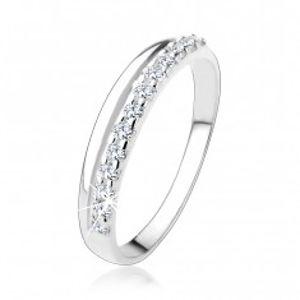Stříbrný prsten 925 s hladkou a čirou zirkonovou linií HH18.10