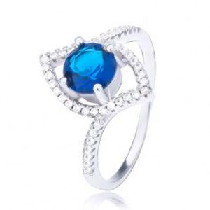 Stříbrný prsten 925, zvlněná elipsa, vystouplý tmavomodrý zirkon BB6.19