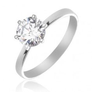 Stříbrný snubní prsten 925 - čirý zirkon uchycený šesti paličkami X44.11
