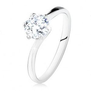 Stříbrný zásnubní prsten 925, kulatý čirý zirkon, úzká ramena SP10.26