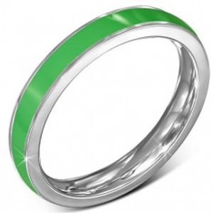 Tenký ocelový prsten - obroučka, zelený pruh, stříbrný okraj J1.17