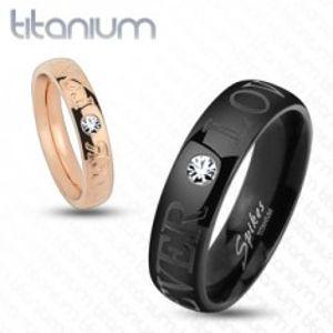 Titanový prsten měděné barvy, nápis FOREVER LOVE, čirý zirkon, 4 mm HH17.1