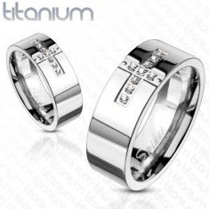 Titanový prsten - křížek a zirkony F1.9