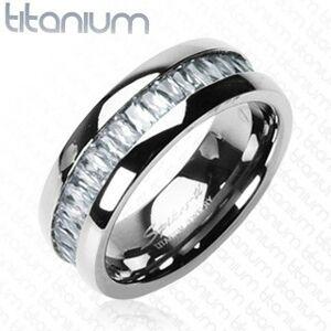 Titanový prsten se vsazenými, obdélníkovými zirkony - Velikost: 70