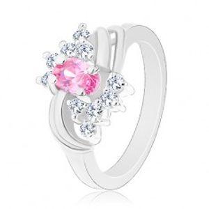 Třpytivý prsten ve stříbrné barvě s růžovým oválem, čiré zirkonky, oblouky G15.31