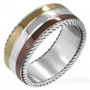 Trojbarevný prsten z oceli - točené lanko na okraji F7.18