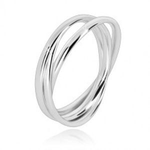 Trojitý prsten ze stříbra 925 - úzké propojené prstence s lesklým povrchem BB10.16