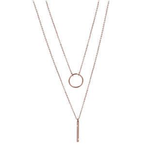 Troli dvojitý náhrdelník se stylovými přívěsky z růžově pozlacené oceli TO2151