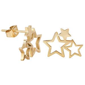 Troli Pozlacené ocelové náušnice se třemi hvězdičkami TO2337