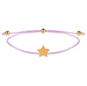 Troli Šňůrkový náramek s hvězdičkou růžová/zlatá TO2537