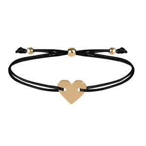 Troli Šňůrkový náramek se srdcem černá/zlatá TO2503
