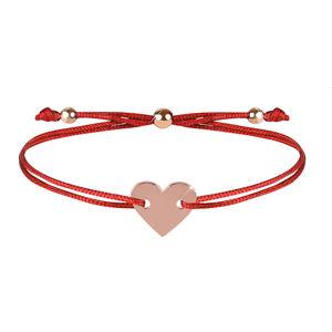 Troli Šňůrkový náramek se srdcem červená/bronzová TO2511