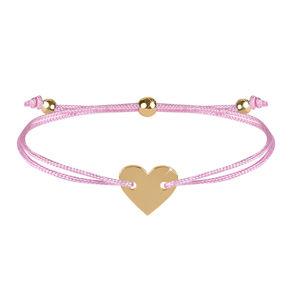 Troli Šňůrkový náramek se srdcem růžová/zlatá TO2507