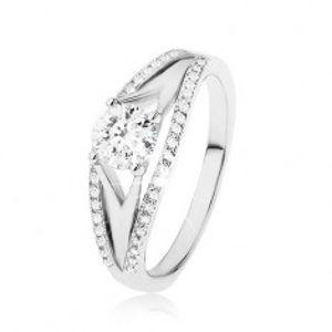 Třpytivý prsten ze stříbra 925, velký kulatý zirkon, bohaté zdobení ramen SP49.12